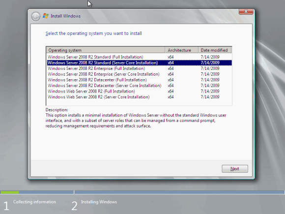 Figure 3 - Installation in Server Core mode