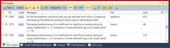 Figure 6 - OP button (optimization) has appeared in PVS-Studio 4.60.