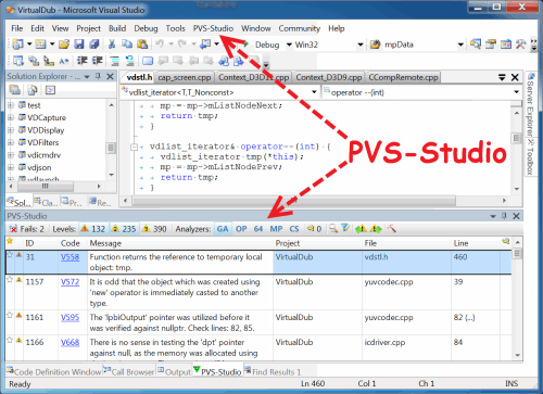 Figure 2. The main elements added by the PVS-Studio analyzer plugin after integration into Visual Studio. Click on the picture to enlarge it.