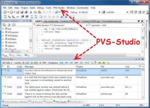 Рисунок 2. Основные элементы, добавляемые анализатором PVS-Studio при интеграции в Visual Studio. Нажмите на рисунок для его увеличения.