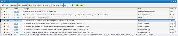 Рисунок 1. В окне PVS-Studio одновременно отображаются предупреждения, относящиеся как к C#, так и C++ коду проверенного проекта (нажмите на рисунок для увеличения).