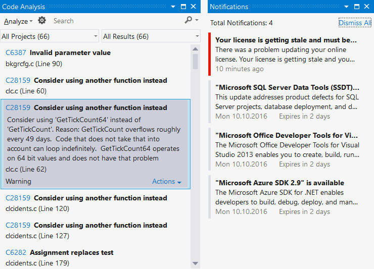 Figure 2 - window of the embedded static analysis (Visual Static 2012) and the notification window (Visual Studio 2013).