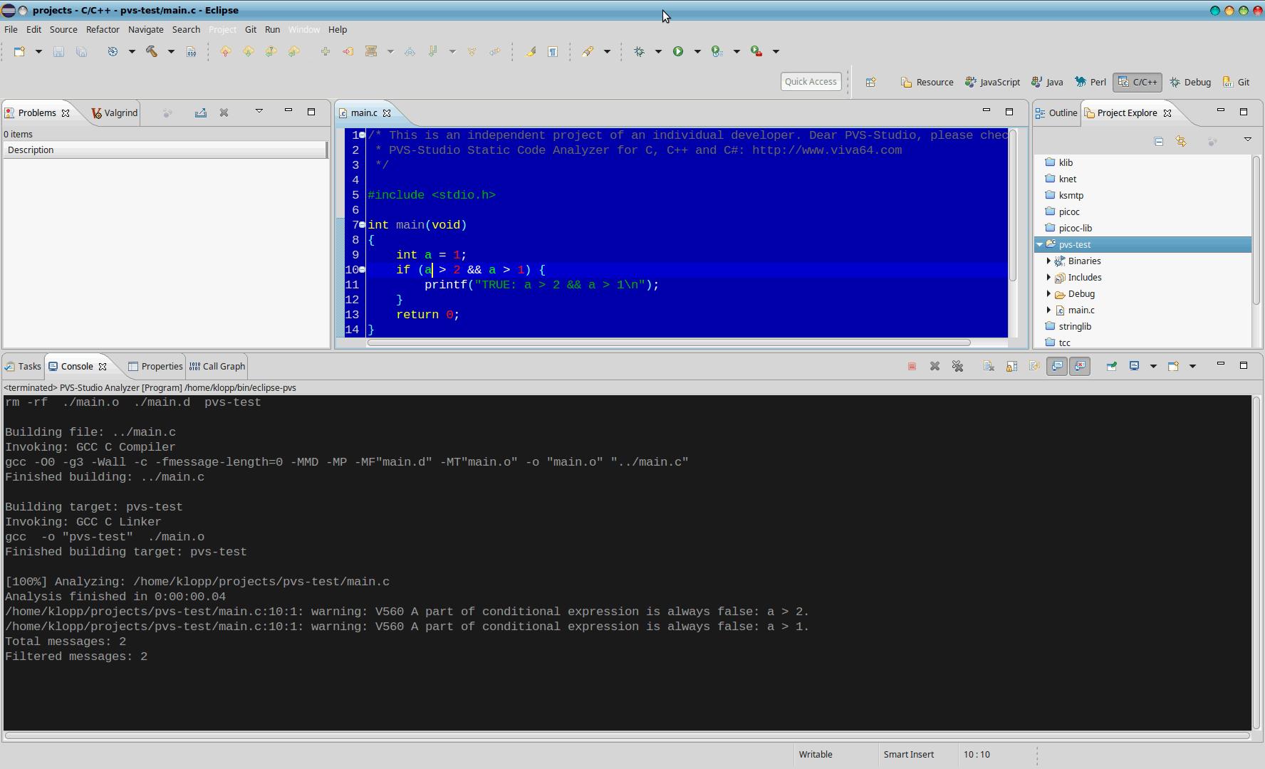 Integrating PVS-Studio into Eclipse CDT (Linux)