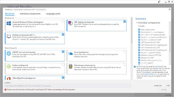 Figure 1 - the new Visual Studio Installer
