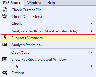 Figure 1 - PVS-Studio Menu in Visual Studio