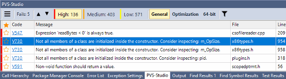 Figure 3 - PVS-Studio Output Window