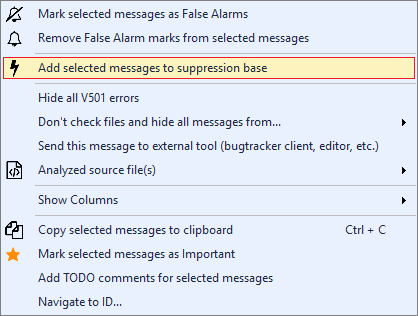 Figure 4 - A context menu of analyzer warning