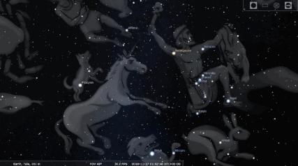 """Рисунок 3. """"Единорог в космосе"""". Вид из Stellarium. Для увеличения нажмите на картинку."""