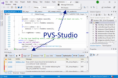 Figure 2. The main items that the PVS-Studio analyzer adds when integrating into Visual Studio. Click on the picture to enlarge.