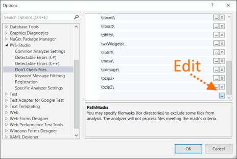 Рисунок 3. Редактирование списка директорий, которые анализатор не будет проверять.