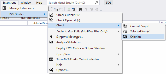 Figure 2. Checking a solution with PVS-Studio.