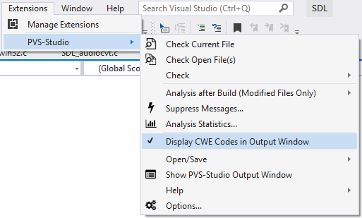 Figure 5. PVS-Studio submenu in the Extensions menu.