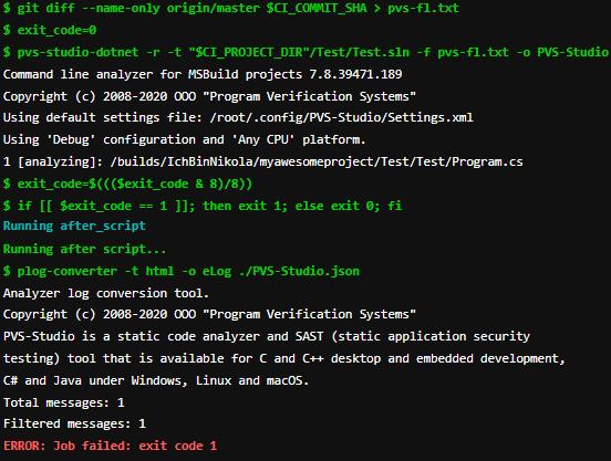 analyzer finding an error