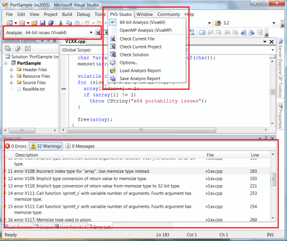 Figure 2 - PVS-Studio integrating into Microsoft Visual Studio