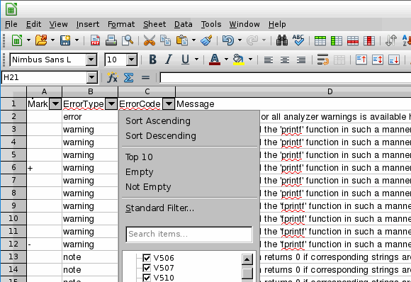 Figure 9 - viewing an .csv file in LibreOffice Calc