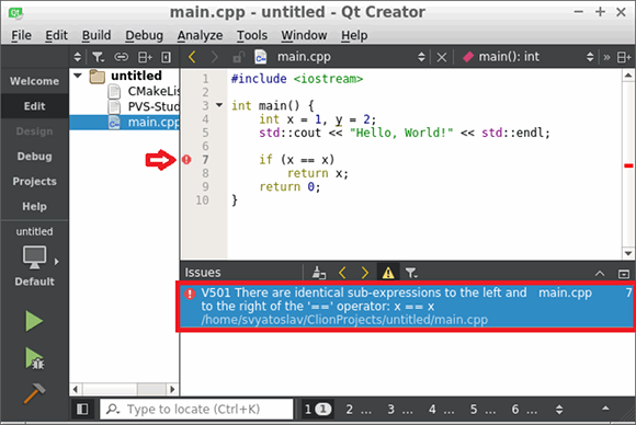 Figure 2 - PVS-Studio warnings viewed in QtCreator