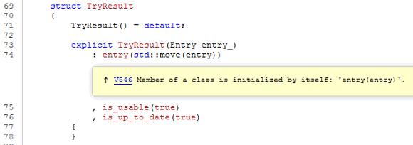 Рисунок 5 - Просмотр предупреждения в коде