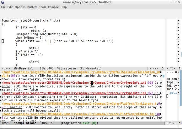Рисунок 8 - Просмотр .err файла в Emacs
