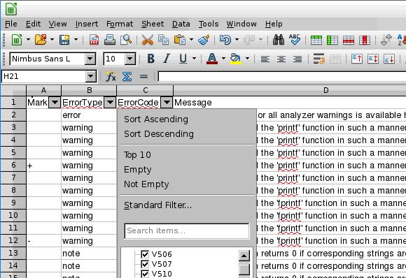 Рисунок 9 - Просмотр .csv файла в LibreOffice Calc