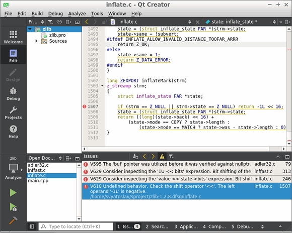 Рисунок 4 - Просмотр .tasks файла в QtCreator
