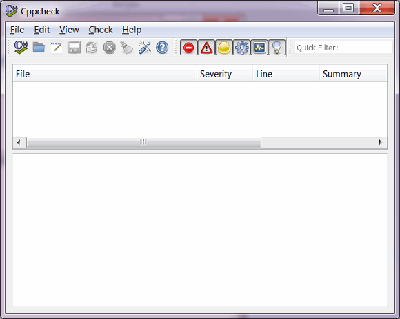 Figure 1. Cppcheck for Windows, the main window. Click on the picture to enlarge it.