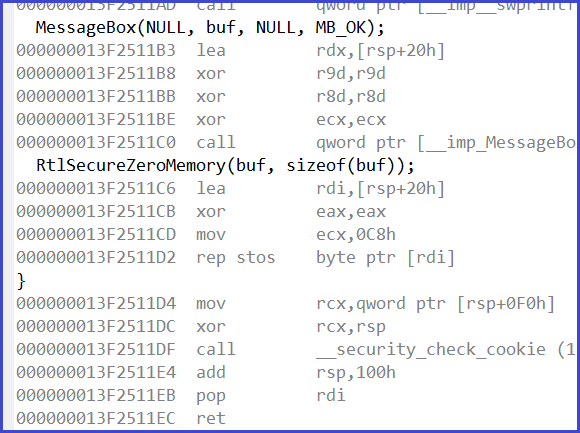 Рисунок 2. Функция RtlSecureZeroMemory() заполняет память нулями.